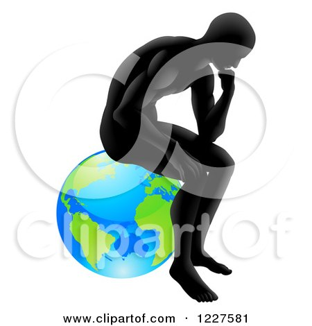 Clipart of a Gradient Black Silhouetted Man in Thought and Sitting on Earth - Royalty Free Vector Illustration by AtStockIllustration