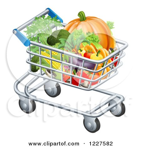 Clipart of a Shopping Cart Full of Healthy Produce - Royalty Free Vector Illustration by AtStockIllustration