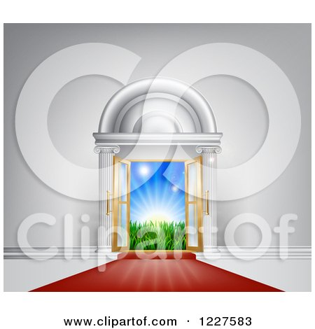 Clipart of a Red Carpet Leading to a Doorway with Sunshine - Royalty Free Vector Illustration by AtStockIllustration