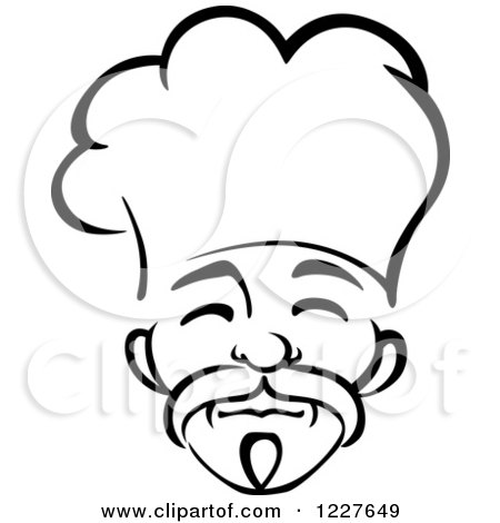 Clipart of a Black and White Male Asian Chef 3 - Royalty Free Vector Illustration by Vector Tradition SM
