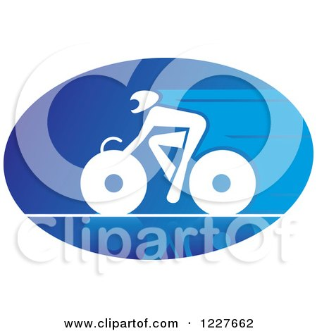 Clipart of a White Cyclist on a Bike in a Blue Oval - Royalty Free Vector Illustration by Vector Tradition SM
