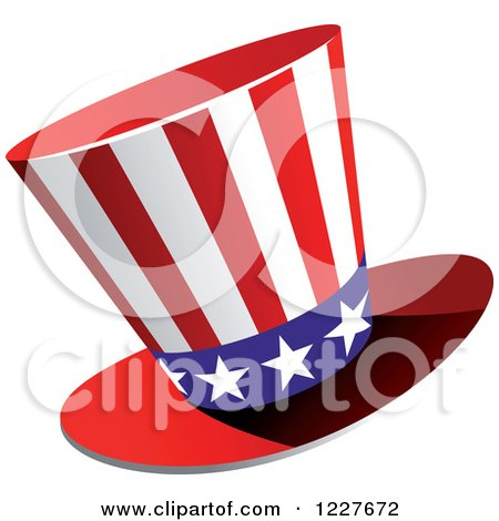 Clipart of a Patriotic American Flag Top Hat - Royalty Free Vector Illustration by Vector Tradition SM