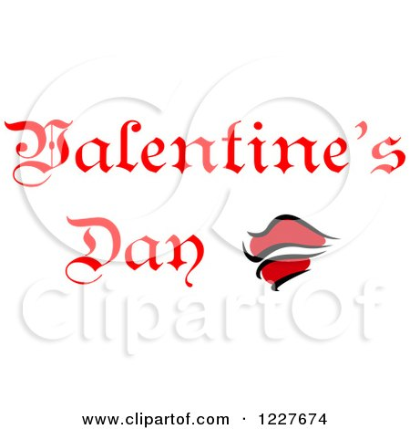 Clipart of Red Lips and Valentines Day Text - Royalty Free Vector Illustration by Vector Tradition SM