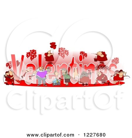 Clipart of Valentines Text with Cupids and People - Royalty Free Illustration by djart