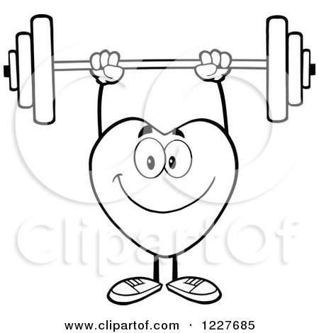 Clipart Of An Outlined Heart Character Working Out With A Barbell