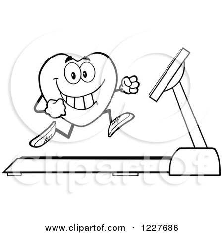 Clipart of an Outlined Heart Character Running on a ...