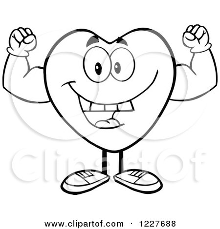 Clipart of an Outlined Heart Character Flexing - Royalty ...