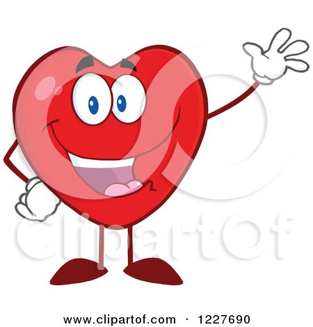 Clipart of a Heart Character Waving - Royalty Free Vector Illustration by Hit Toon