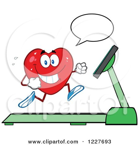 Clipart of a Talking Heart Character Running on a Treadmill - Royalty Free Vector Illustration by Hit Toon