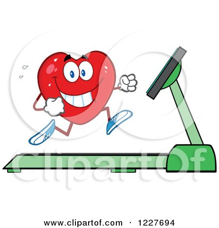 Clipart of a Heart Character Running on a Treadmill - Royalty Free Vector Illustration by Hit Toon