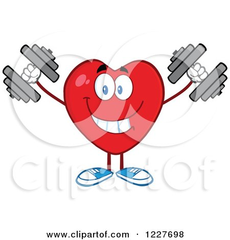 Clipart of a Heart Character Working out with Dumbbells - Royalty Free Vector Illustration by Hit Toon