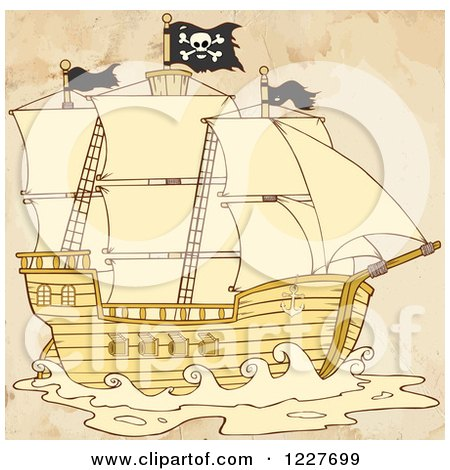 Clipart of a Pirate Ship with Distressed Sepia - Royalty Free Vector Illustration by Hit Toon