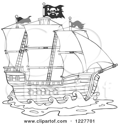 Clipart of a Black and White Pirate Ship - Royalty Free Vector Illustration by Hit Toon