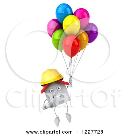Clipart of a 3d White Construction Worker House with Balloons 3 - Royalty Free Illustration by Julos
