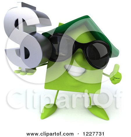 Clipart of a 3d Happy Green Home with a Thumb up and Dollar Symbol - Royalty Free Illustration by Julos