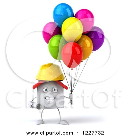 Clipart of a 3d White Construction Worker House with Balloons - Royalty Free Illustration by Julos
