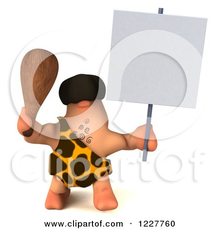 Clipart of a 3d George Caveman Holding a Sign - Royalty Free Illustration by Julos