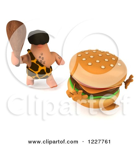 Clipart of a 3d George Caveman Chasing a Cheeseburger 2 - Royalty Free Illustration by Julos