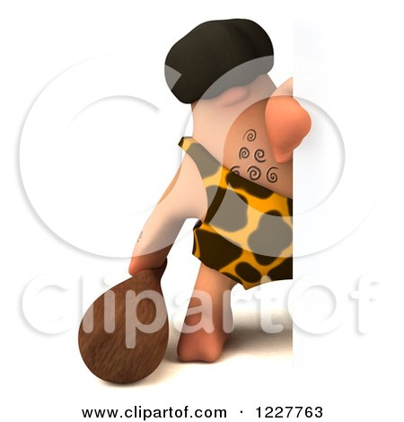 Clipart of a 3d George Caveman Looking Around a Sign - Royalty Free Illustration by Julos