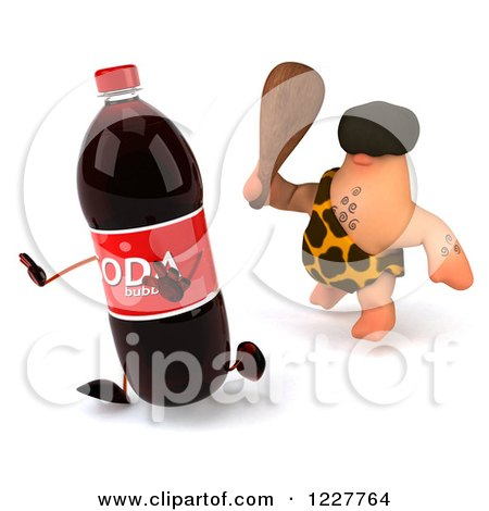Clipart of a 3d George Caveman Chasing a Soda - Royalty Free Illustration by Julos