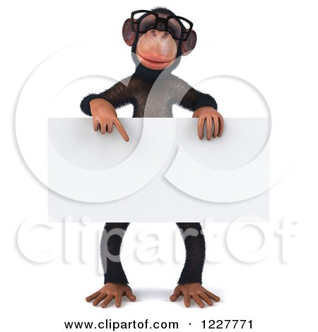 Clipart of a 3d Chimpanzee Wearing Glasses and Holding a Sign - Royalty Free Illustration by Julos