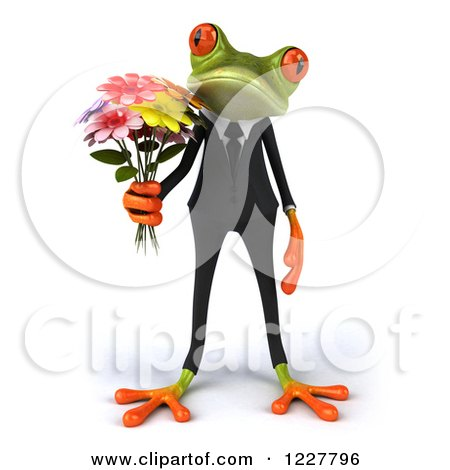 Clipart of a 3d Business Springer Frog Holding Flowers - Royalty Free Illustration by Julos