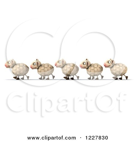 Clipart of 3d Happy Sheep Walking in a Line - Royalty Free Illustration by Julos