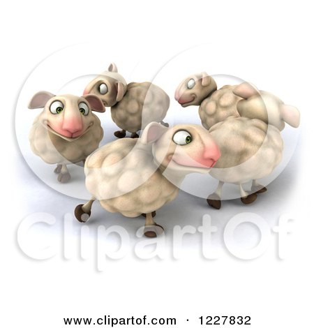 Clipart of 3d Happy Sheep Playing in a Circle - Royalty Free Illustration by Julos