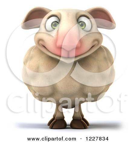 Clipart of a 3d Happy Sheep - Royalty Free Illustration by Julos