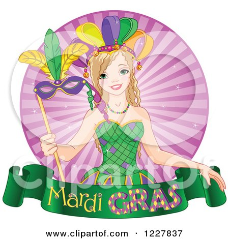 Clipart of a Happy Mardi Gras Girl with a Mask over a Banner and Rays - Royalty Free Vector Illustration by Pushkin