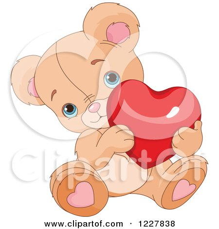 Clipart of a Cute Valentine Teddy Bear Holding a Red Heart - Royalty Free Vector Illustration by Pushkin