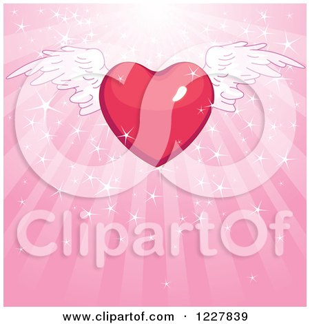 Clipart of a Red Winged Heart over Pink Rays and Sparkles - Royalty Free Vector Illustration by Pushkin
