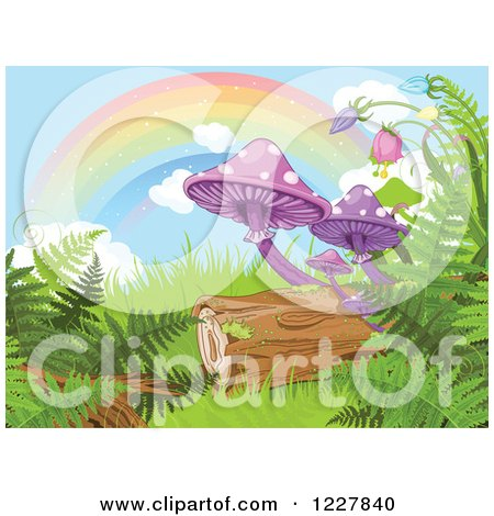 Clipart of a Rainbow over Mushrooms Ferns and a Log in a Fantasy Forest - Royalty Free Vector Illustration by Pushkin