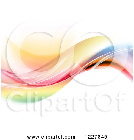 Clipart of a Wave of Colors on White - Royalty Free Illustration by KJ Pargeter