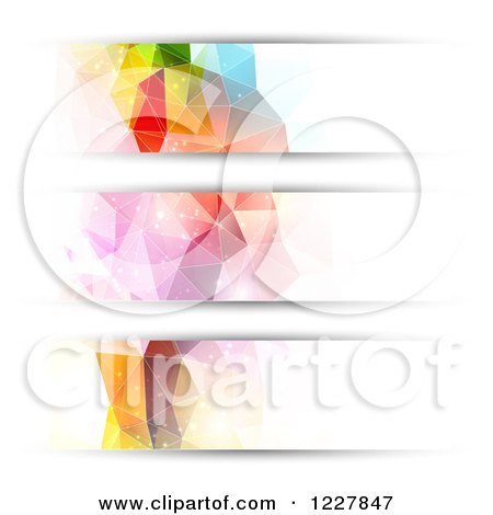 Clipart of Abstract Futuristic Geometric Website Header Banners - Royalty Free Vector Illustration by KJ Pargeter