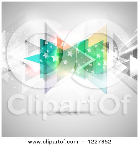 Clipart of a Background of Abstract Colorful Triangles and Stars over Gray - Royalty Free Vector Illustration by KJ Pargeter