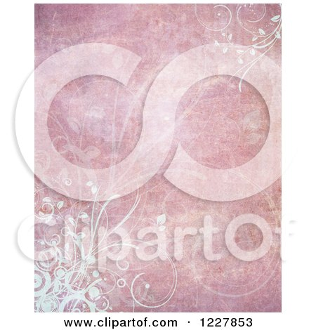 Clipart of a Distressed Grungy Pink Background with White Foliage - Royalty Free Illustration by KJ Pargeter