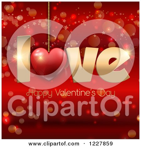 Clipart of a Happy Valentines Day Greeting with Love Suspended over Red - Royalty Free Vector Illustration by KJ Pargeter
