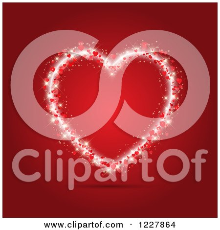 Clipart of a Sparkly Valentine Heart over Red - Royalty Free Vector Illustration by KJ Pargeter