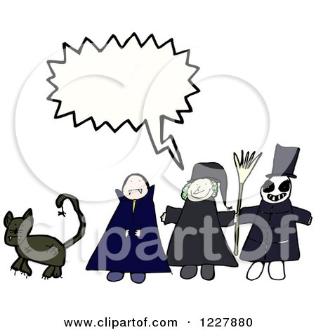 Clipart of a Talking Group of Halloween Kids - Royalty Free Vector Illustration by lineartestpilot
