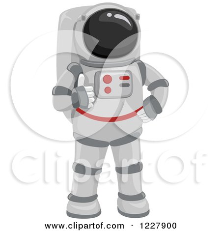 Clipart of an Astronaut Holding a Thumb up - Royalty Free Vector Illustration by BNP Design Studio