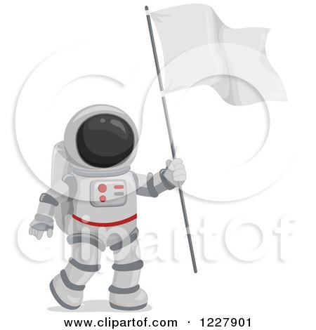 Clipart of an Astronaut in a Space Suit, Carrying a Flag - Royalty Free Vector Illustration by BNP Design Studio