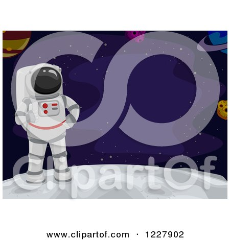 Clipart of an Astronaut on the Moon, with Text Space - Royalty Free Vector Illustration by BNP Design Studio