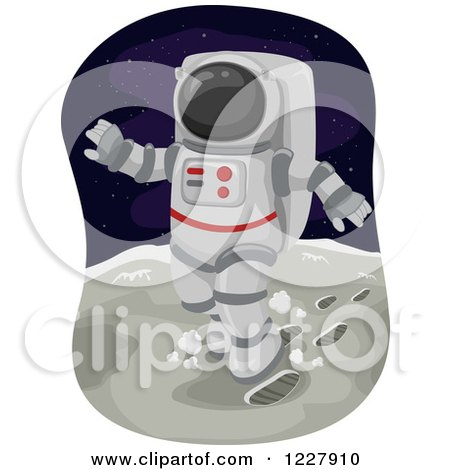 Clipart of an Astronaut Walking on the Moon - Royalty Free Vector Illustration by BNP Design Studio