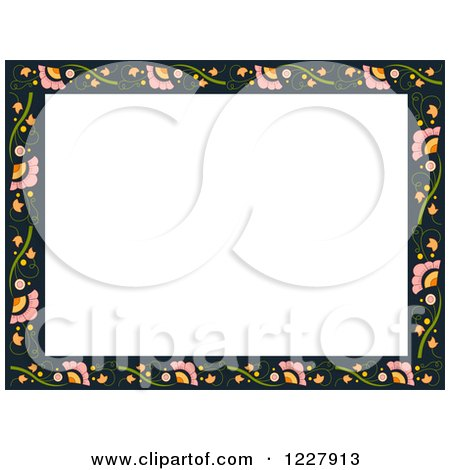 Clipart of a Border of Flowers Around White Text Space - Royalty Free Vector Illustration by BNP Design Studio