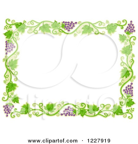 Clipart of a Border of Grape Vines Around White Text Space - Royalty Free Vector Illustration by BNP Design Studio