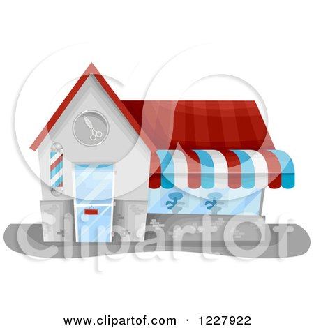 Clipart of a Barbert Shop Building - Royalty Free Vector Illustration by BNP Design Studio