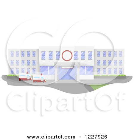 Clipart of a Hospital Building Facade with Ambulances - Royalty Free Vector Illustration by BNP Design Studio