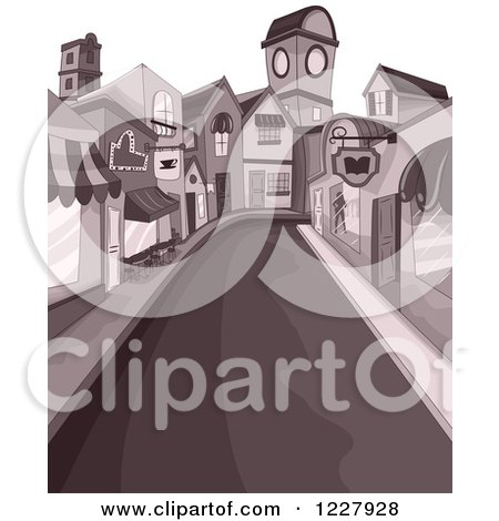 Clipart of a Deserted Street Through Downtown Buildings - Royalty Free Vector Illustration by BNP Design Studio