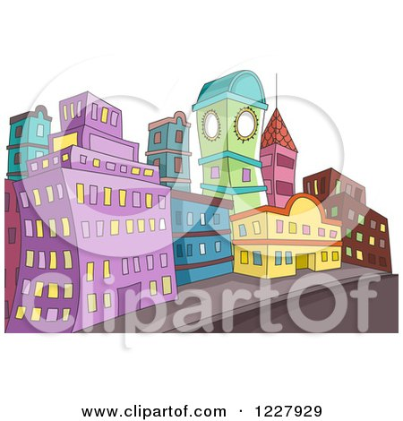 Clipart of a City with Colorful Buildings Along a Street - Royalty Free Vector Illustration by BNP Design Studio
